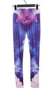 Blue and Pink Cloud Galaxy Dip Dye Legging