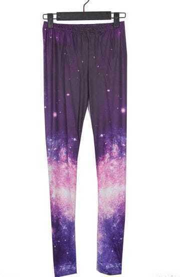 Purple and Pink Galaxy Dip Dye Legging