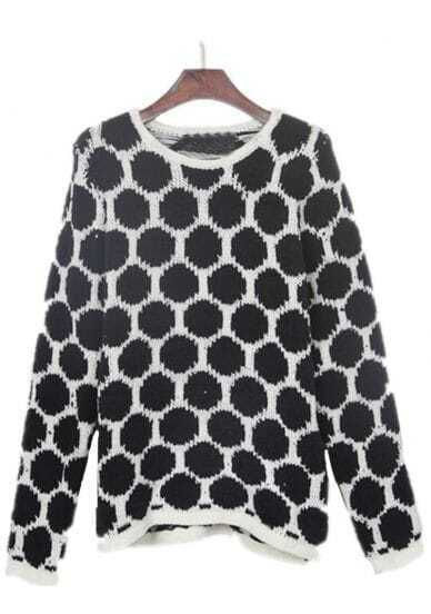 Black Polka Dot with White Trims Batwing Sleeve Sweater