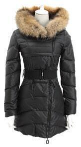 Black Fox Fur Hooded Oblique Zipper Placket Down Coat