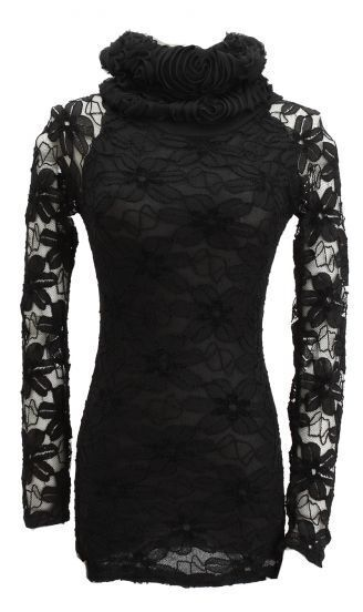 Black Roll Neck Sheer Sleeve Floral Lace Blouse