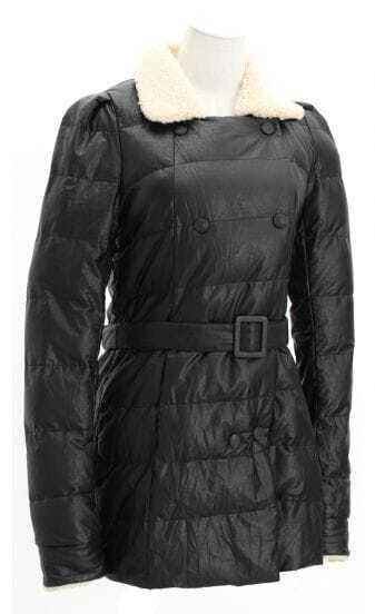 Black Roll Sleeve Fleece Collar Belt Padded Coat