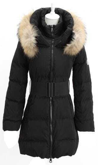 Black Fox Fur Hooded Stand Up Coolar Belt Down Coat