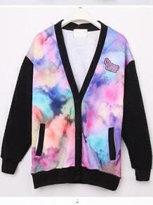 Purple Long Sleeve Galaxy Pockets Jacket Coat