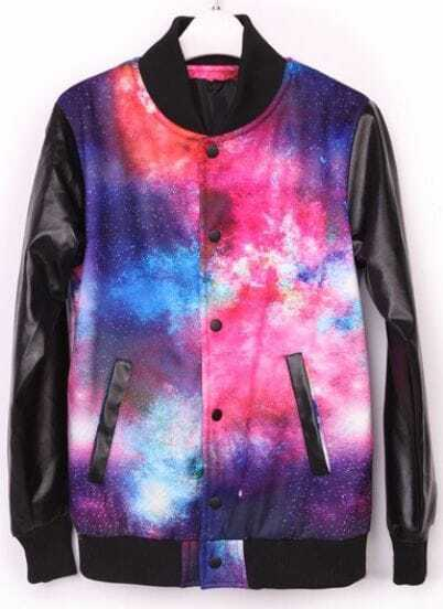 Multi Long Sleeve Galaxy Buttons Pockets Coat