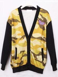 Yellow Camouflage Long Sleeve Galaxy Pockets Jacket Coat