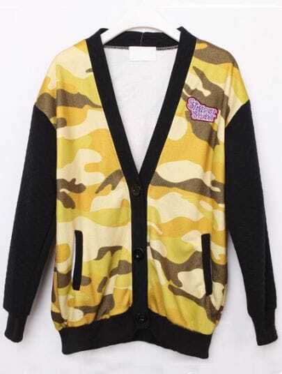 Yellow Camouflage Long Sleeve Galaxy Pockets Jacket Coat