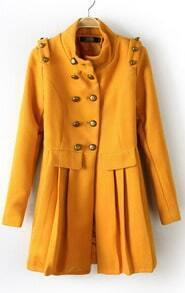 Yellow Long Sleeve Epaulet Buttons Pleated Coat