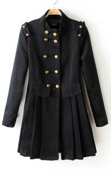 Black Long Sleeve Epaulet Buttons Pleated Coat