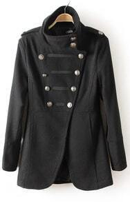 Black Long Sleeve Epaulet Double Breasted Trench Coat