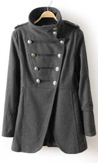 Grey Long Sleeve Epaulet Double Breasted Trench Coat