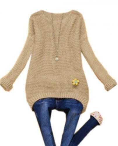 Coffee Batwing Long Sleeve Striped Plush Sweater