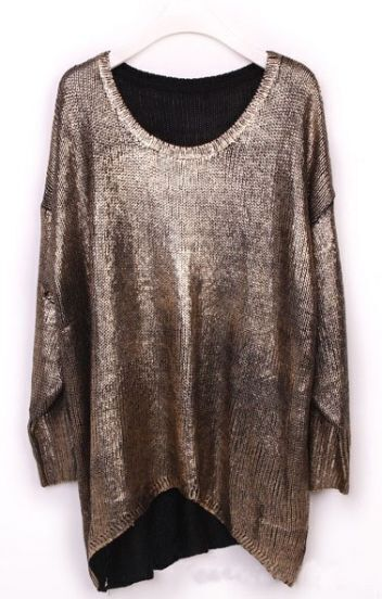 Gold Batwing Sleeve Asymmetrical Metallic Pullover Sweater