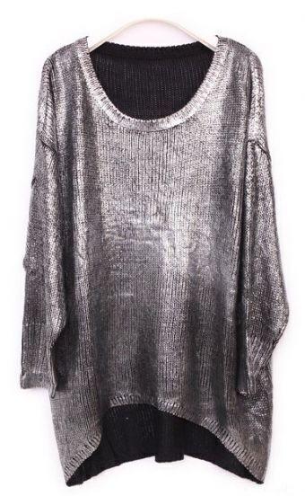 Silver Batwing Sleeve Asymmetrical Metallic Pullover Sweater