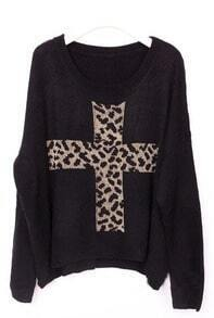 Black Long Sleeve Leopard Cross Embroidery Sweater