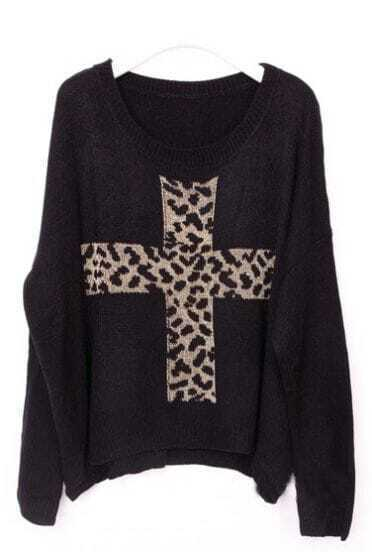 Black Long Sleeve Leopard Cross Embroidery Sweater