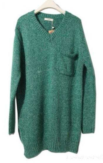 Green Long Sleeve Pocket Loose Pullovers Sweater