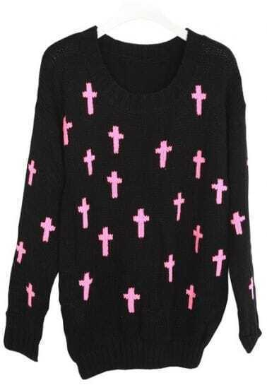 Black Long Sleeve Cross Embroidery Pullovers Sweater