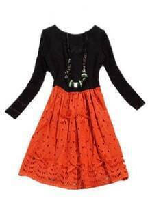 Black Orange Long Sleeve Hollow Embroidery Dress