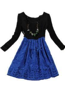 Black Blue Long Sleeve Hollow Embroidery Dress