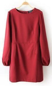 Wine Red Long Sleeve Back Split Chiffon Dress