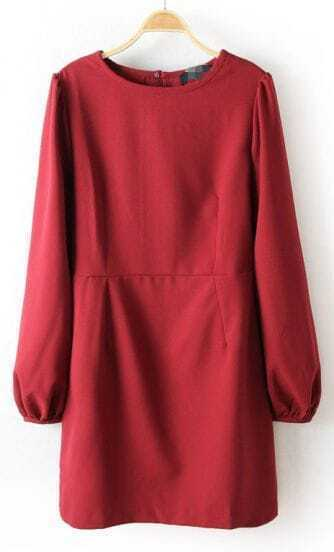 Wine Red Long Sleeve Back Split Chiffon Dress
