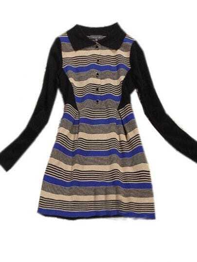 Khaki Lapel Long Sleeve Striped Buttons Dress