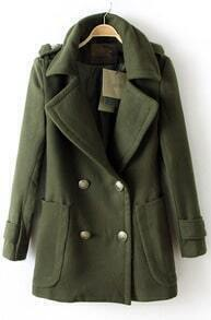 Army Green Long Sleeve Double Breasted Notch Lapel Pockets Coat