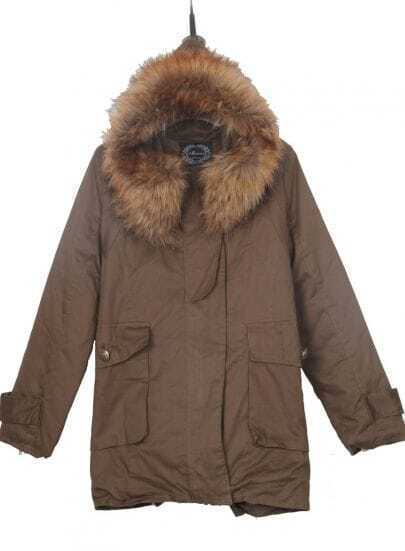 Coffee Fur Hooded Drawstring Back Zipper Side Fleece Parka