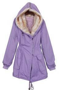 Light Purple Zipper Hooded Drawstring Waist Parka