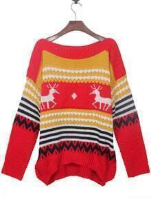 Red and Yellow Striped Deer Boat Neck Sweater