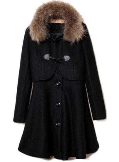 Black Fur Lapel Long Sleeve Buttons Two Pieces Coat