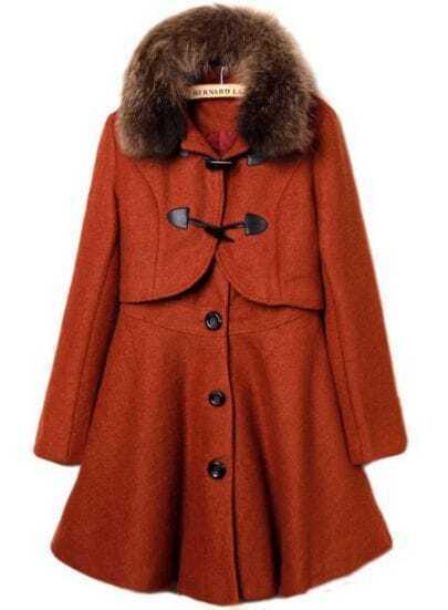 Orange Fur Lapel Long Sleeve Buttons Two Pieces Coat