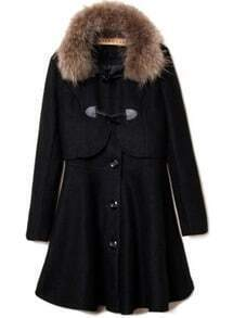 Black Fur Lapel Long Sleeve Buttons Two Pieces Coat