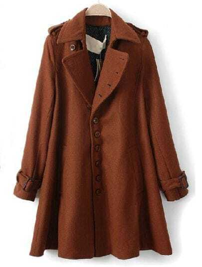 Dark Camel Lapel Long Sleeve Epaulet Buttons Coat