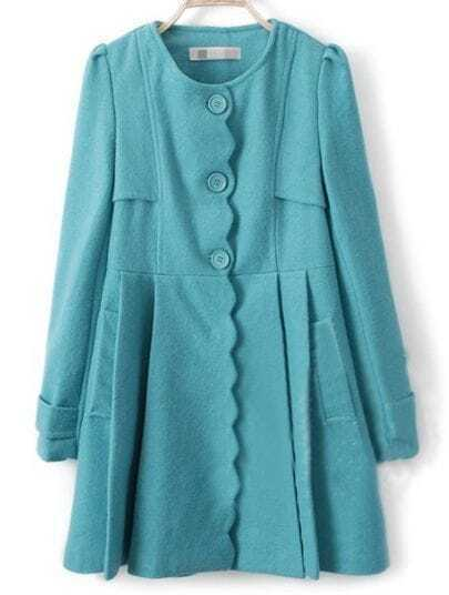 Turquoise Long Sleeve Ruffles Pockets Pleated Coat