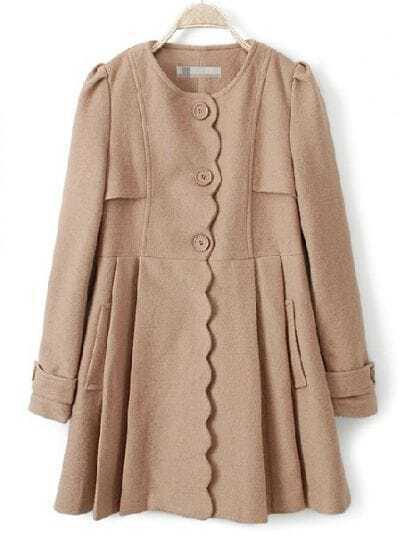 Light Camel Long Sleeve Ruffles Pockets Pleated Coat