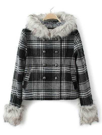 Black Fur Hooded Long Sleeve Plaid Pockets Coat