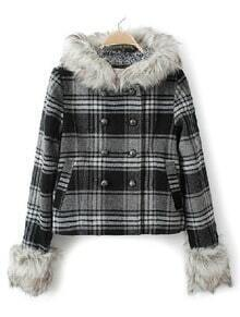 Black Fur Hooded Long Sleeve Plaid Pockets Coat