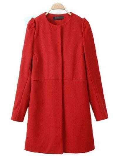 Red Long Sleeve Covered Button Trench Coat