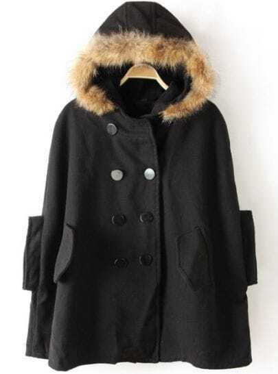 Black Fur Hooded Split Pockets Loose Cape Coat