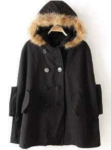 Black Fur Hooded Split Pockets Loose Cape Coat