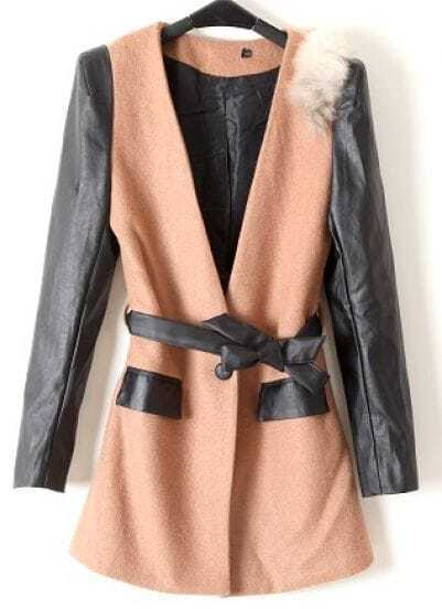 Khaki Contrast Leather Long Sleeve Pockets Coat