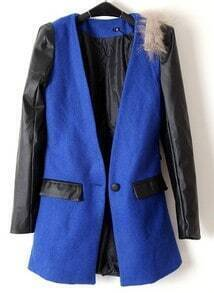 Blue Contrast Leather Long Sleeve Pockets Coat