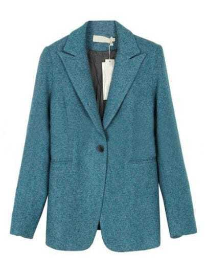 Blue Notch Lapel Long Sleeve Pockets Suit
