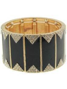 White Crystal Black Bangle Bracelet