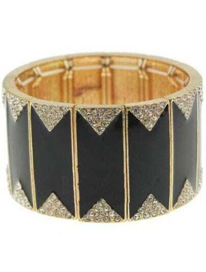 White Crystal Black Bangle Bracelet