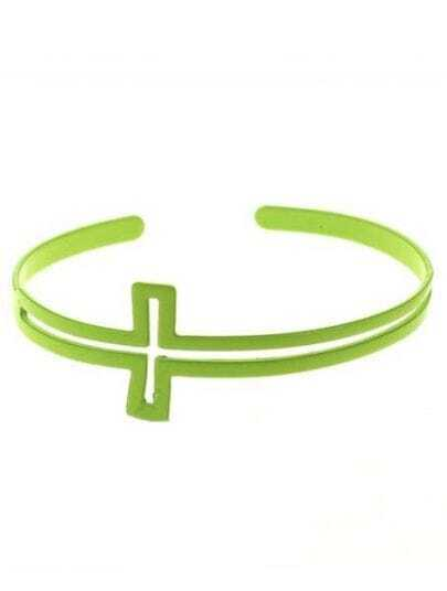 Yellow Fluorescence Hollow Cross Cuff Bracelet