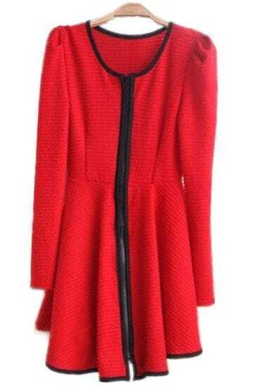 Red Long Sleeve Contrast Trims Ruffles Dress