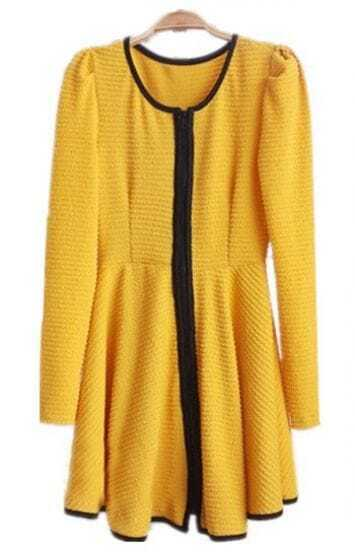 Yellow Long Sleeve Contrast Trims Ruffles Dress